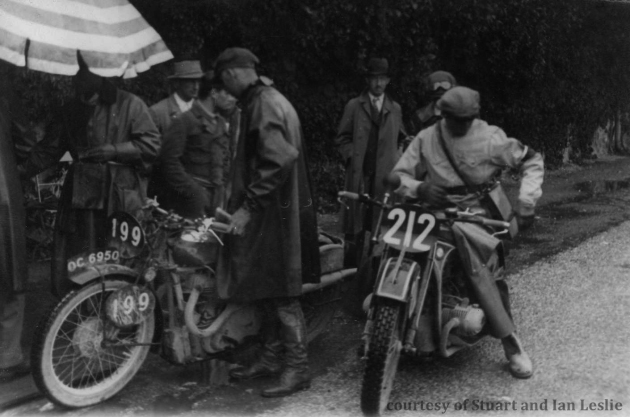 Photo -  #199 Jack Leslie on his BSA and #212 Ernst Henne on his BMW. ISDT 1934 (Courtesy Stuart and Ian Leslie Collection)