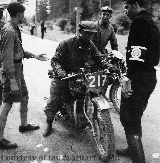 Photo - #217 Jack Leslie on Rudge at check point  ISDT 1936 (Courtesy Stuart and Ian Leslie Collection)