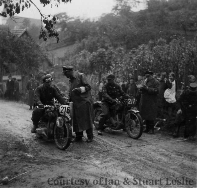 Photo - #217 Jack Leslie on Rudge with #216 K Kruger on Zundapp 1936 ISDT 1936 (Courtesy Stuart and Ian Leslie Collection)