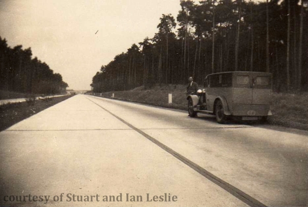 Photo - Jack Leslie with his Hispano Suisse on an empty autobahn ISDT 1934 (Courtesy Stuart and Ian Leslie Collection)