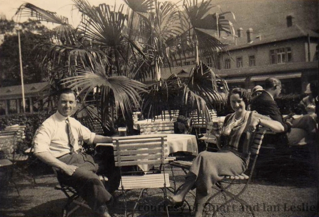 Photo - Jack and Helen sample the local German beer  ISDT 1934 (Courtesy Stuart and Ian Leslie Collection)