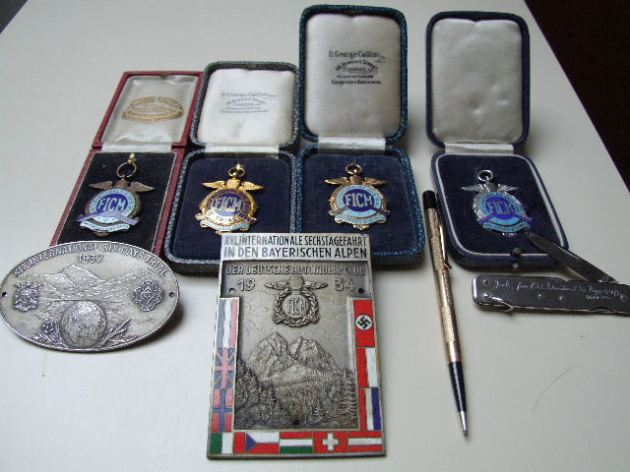 Photo -  Jack Leslies medals and plaques ISDT 1934-38 (Courtesy Stuart and Ian Leslie Collection)