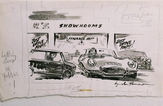 Image - Autocar sketch featuring new owner of Jaguar E Type 1973 by Gordon Horner