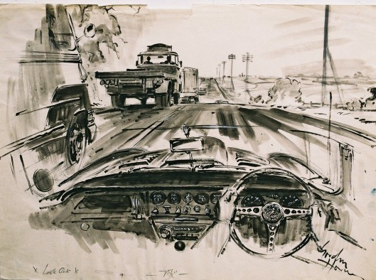 Image sketch of Jaguar E Type 1964 - Gordon Horner