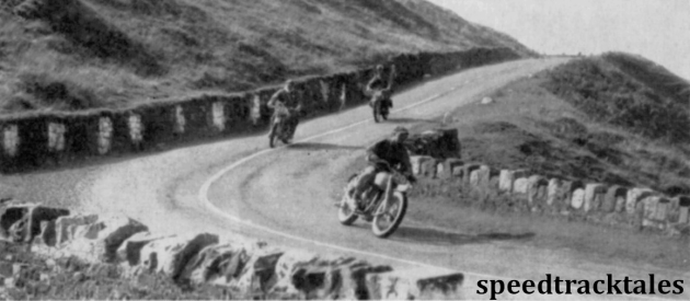 photo - Near Carn Lwyd in the Black Mountains JM Hearns {347cc Matchless) leads D D Jones (348cc BSA) and Major ERR Lloyd, R.A (125cc BSA) ISDT 1949  (Speedtracktales archive)