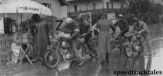 photo - Dutch competitor B Jansema (150cc CZ) at an intermediate check ISDT 1952 (Speedtracktales archive)