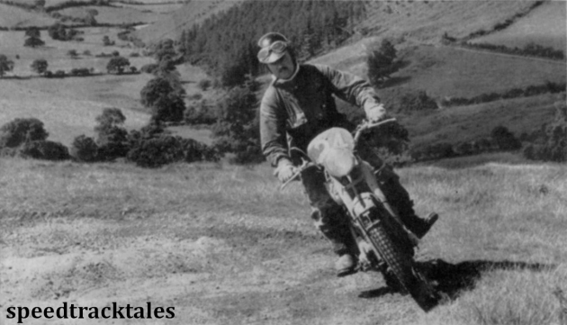 photo - P.H Alves (650cc Triumph) member of the victorious British Trophy Team corners at speed ISDT 1953 (Speedtracktales archive)