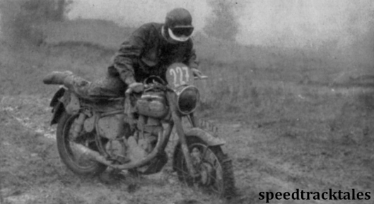 photo - JV Brittain )346cc Royal Enfield) British Trophy Teamster momentarily looses control on mud ISDT 1955 (Speedtracktales archive)