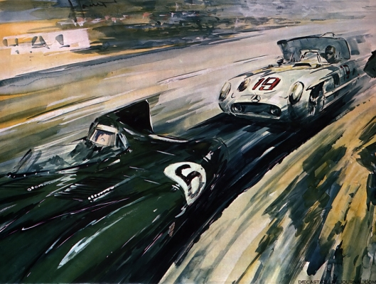 Image - from Autocar a scene from LeMans 24hr 1955 by Gordon Horner