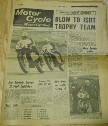 photo - front cover of Motor Cycle 16th September 1967  ISDT 1967