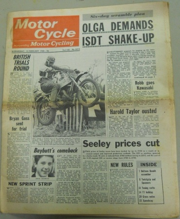 Photo - Front page of 'Motor Cycle' 14th February 1968 on proposals to change the ISDT rules.