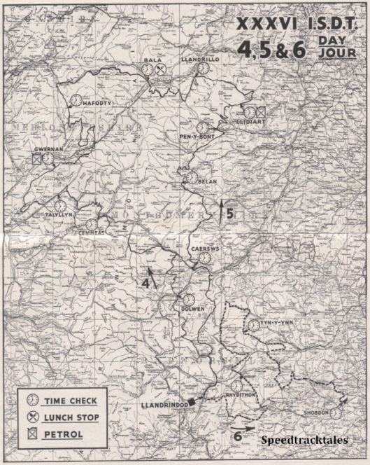 image - scanned map of routes for days 4, 5 and 6 of ISDT 1961 (Speedtracktales Archive)