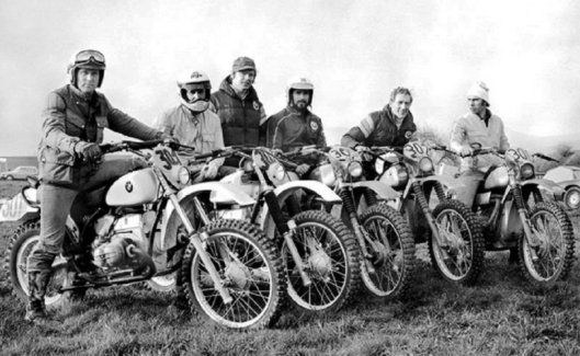 Photo - Works BMW Enduro Team for 1979 that competed in the FIM World Enduro Championship rounds (Left to Right) Rolf Witthöft, Laszlo Peres, Dietmar Beinhauer (Teamchef), Kurt Fischer, Herbert Schek, Richard Schalber