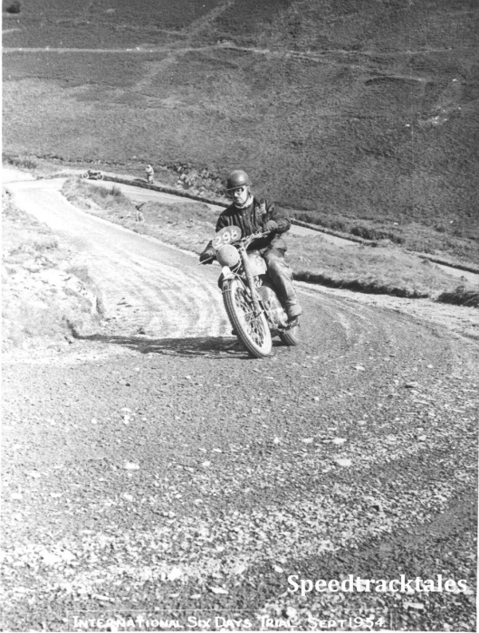 Photo - C.M. 'Bob' Ray - Photo taken by Ray Biddle at 'Devil's Highway' Abergwesyn Pass ISDT 1954 (Speedtracktales Collection)