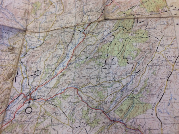 Map of ISDT 1954 in the Crychan Forest area of the Brecon Beacons