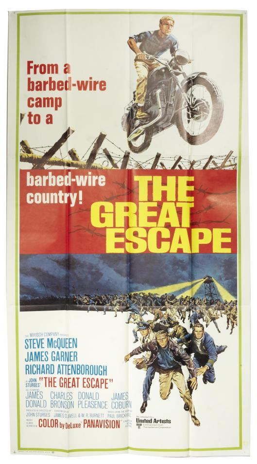photo - original film poster for the Great Escape featuring Steve McQueen
