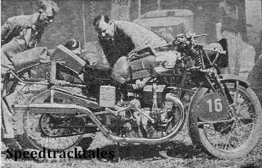 photo - our man 'Cyclops' examining one of the rear sprung 500 twin Sertums - that ridden by #16 A. Brunetto, a member of the Italian Vase 'A' team ISDT 1939 (Speedtracktales Collection)
