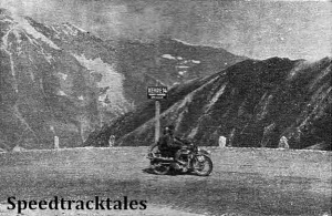 photo - The finest photograph could not do justice to the wonderful scenery through which the route of the trial passed. Here H.J.Flook (596 Norton sc) on the Grossglockner, with a background of snow-capped crags ISDT 1939 (Speedtracktales Archive)