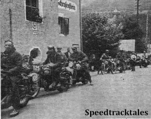 photo - The 21st International will go down in history as the occasion the entire British entry retired. The reason for the retirement is given elsewhere in the story and here is a scene during the retreat from Salzburg. It shows part of the contingent arriving at Feldkirk before crossing the border into Switzerland. ISDT 1939 (Speedtracktales Archive)