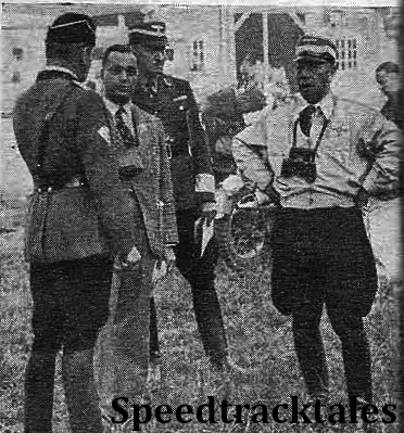 photo - Korpsführer Hühnlein chatting with the Clerk of the Course Standartenführer Rühling ISDT 1939 (Speedtracktales Collection)