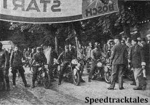 photo - Starting on Monday : (Left to Right) the riders are #58 V.N Brittain (Norton) #57 W. Schlichting (BMW) Germany and #56 J.H. Sybrandy (Triumph) Holland  ISDT 1939 (Speedtracktales  Archive)