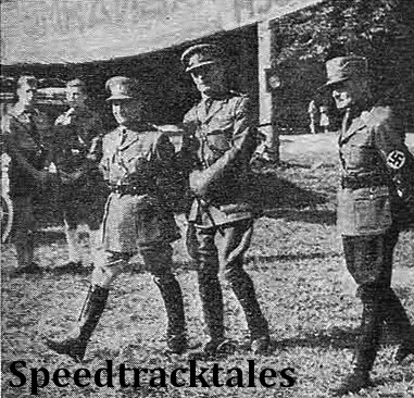 photo - Major Oldfield, Lieut. Col. Bennett of the British Army, and NSKK Oberführer Grolman ISDT 1939 (Speedtracktales Collection)
