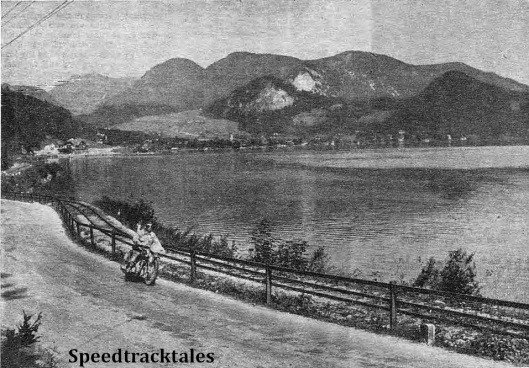 photo - A Dutch rider of a British marque in the German Alps. J.F. Fijma (Ariel) sweeping along the road by the beautiful Wolfgangsee during Tuesday's run ISDT 1939 (Speedtracktales Collection)