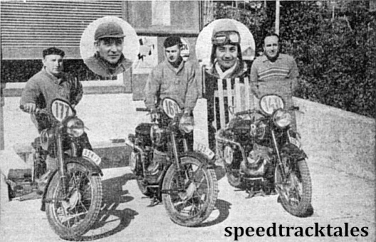 Photo - The Czechoslovakian team, winners of the 1952 International Trophy. With their 250cc Jawa two-strokes are #177 Jan Novotny, #169 Jiri Kubes, #148 Richard Dusil. Circled are (left) Cenek Kohlicek and right Jaroslav Pudil, the two 150 cc CZ-riding members of the quintet ISDT 1952 (Speedtracktales Collection)