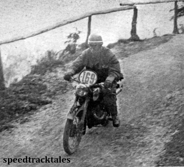 Photo - Member of the Czechoslovakia Trophy team, Jiri Kubes seen during Sunday's run. His mount is a 250cc Jawa two-stroke. ISDT 1952 (Speedtracktales Collection)