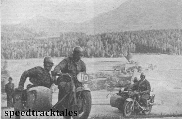 Photo - L. van der Noll of Holland (590 BMW sc) begins the climb of the Steinberg Pass followed by his compatriot, BP Emmelkamp, on a 597cc Zündapp outfit. ISDT 1952 (Speedtracktales Collection)