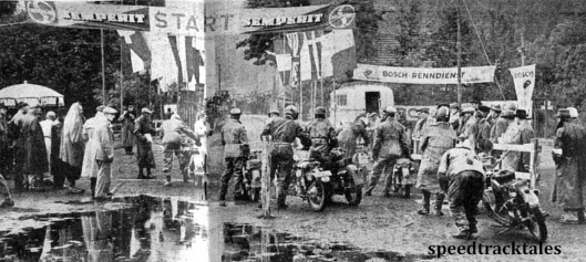 Photo - Conditions at the start of Saturday's run are depicted above. Reflected in the waterlogged ground, spectators and officials see the riders off on their third day's journey ISDT 1952 (Speedtracktales Collection)