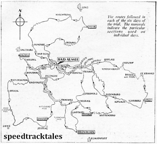 Image - The routes followed in each of the six days of the trial. The numerals indicate the particular sections used on individual days. ISDT 1952 (Speedtracktales Collection)
