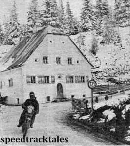 Photo - JR Hebden (498 Triumph) in a Christmas card setting near Randstadt, in the Tauern Pass area. ISDT 1952 (Speedtracktales Collection)