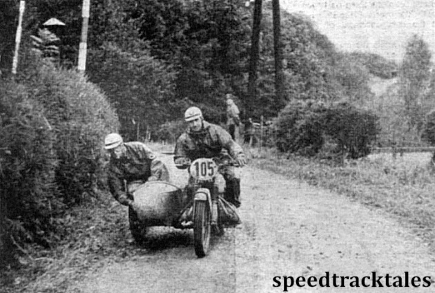 Photo - German sidecar expert M. Klankermeier (BMW) takes a corner in Admont. ISDT 1952 (Speedtracktales Collection)