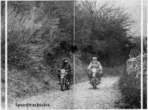 "Photo - ""Motor Cycling's"" man trying the Triumph twin up the Alt-y-Bady, while Harry Perrey has a go on the 5/5. Both models absolutely played up the hill, and restarting, even on standard tyres, presented little difficulty."