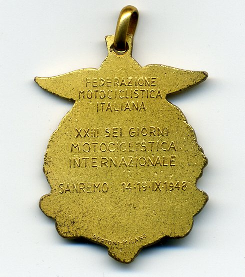 Photo - Gold Medal (rear) ISDT 1948
