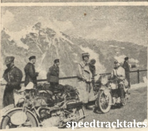 Photo - Miss Marjorie Cottle (249 Triumph), chatting with Obergruppenfuhrer Kraus, president of the International Jury, at the check at the top of the Grossglockner. Miss Cottle made a magnificent performance in the trial ISDT 1939 (Speedtracktales Collection)