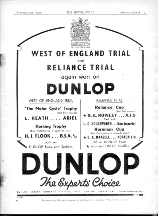 Image - Dunlop Tyres advert displaying their product successes at the Reliance Trial 1935