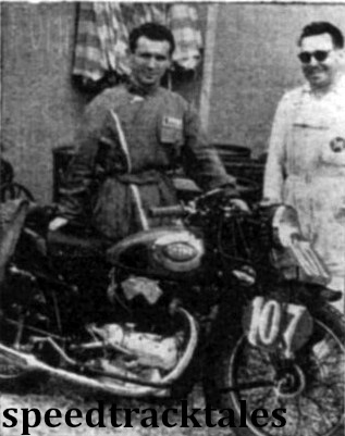 photo - fresh from his victory in the Grand Prix des nations last Sunday - M. Masserini with his 250cc Gilera. ISDT 1948