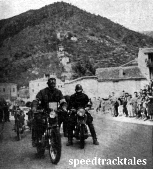 photo - A scene that will evoke momories among D.R.s (Dispatch Riders - Ed) who served in Italy. The terraced hillside is a typical Northern Italian panorama. #118 Hugh Viney  (498 A.J.S) of the British Trophy team, is just leaving the check. ISDT 1948 (Speedtracktales Collection)