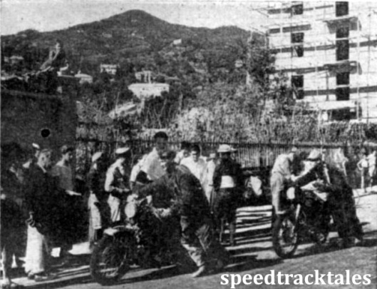 photo - S.F. Board (988 Vincent-HRD) and D.B. Williams (A.J.S), two private British competitors, at the time check in Alassio. As everywhere, British machines were closely inspected by the spectators. ISDT 1948 (Speedtracktales Collection)