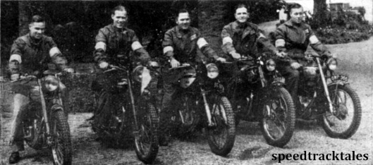 The British Trophy Team. Left to right: C.N. Rogers (346 Royal Enfield); Allan Jefferies (498 Triumph), captain; J Williams (499 Norton); B.H.M. Viney (498 AJS); Vic Brittain (346 Royal Enfield) ISDT 1948