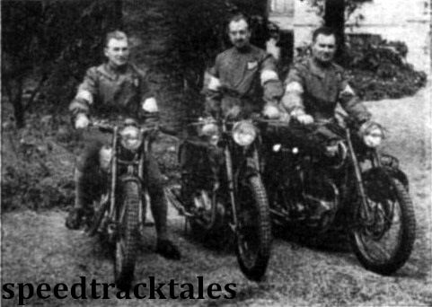 photo - British 'A' Vase team. Left to right: W.J. Stocker (499 Royal Enfield); C.M.Ray (497 Ariel); P.H. Alves (498 Triumph) ISDT 1948