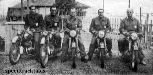 photo - Trophy team reprseenting Czechoslovakia, last year's winners. The riders are, left to right, C. Kohlicek (125 CZ), J Pastika (125 CZ) V Stanislav, R. Dusil and J. Bednar (250 Jawa machines)