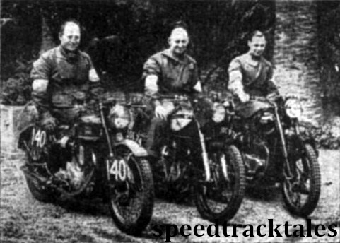 phto - the British Vase 'B' team F.M. Rist (348 BSA); J Blackwell (499 Norton); A.F.Gaymer (498 Triumph) ISDT 1948