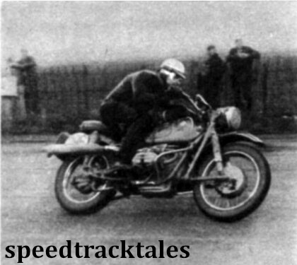 Photo - Star of the winning West German Trohpy team, Sebastian Nachtmann (590cc BMW) leading the field at Shobdon. ISDT 1961