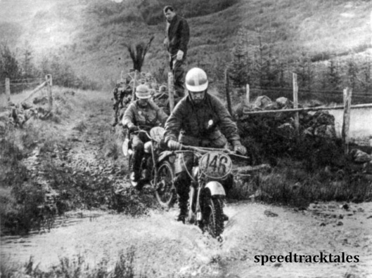 Photo - #146 T Magnusson (250 Husqvarna) of the Swedish Trophy team leads #142 Alf Hill (246 Greeves) through a stream at Blen y Glyn. ISDT 1961