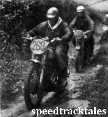 Photo - #268 Brian Piggott (348 Matchless) followed by American #294 Bud Ekins (649 Triumph) on Friday afternoon. ISDT 1961