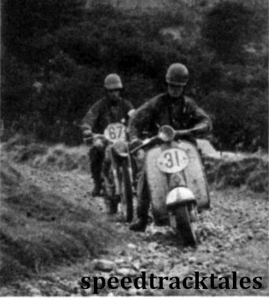 Photo - #31 Alan Kimber (175 Lambretta) leads Italian #67 G. Siani (175 Moto-Guzzi). ISDT 1961