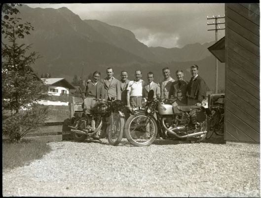 British riders with Matchless and Triumph 500 BMX 621 at ISDT 1935